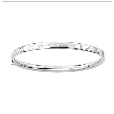 14kt white gold bangle bracelet with the alphabet engraved all around the bangle for babies.