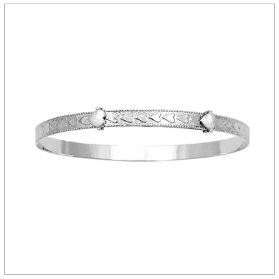 White gold bangle bracelets with embossed hearts border. Adjustable for baby, toddler, and child.