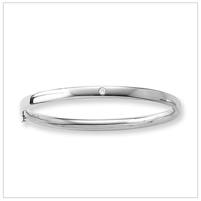 14kt White Gold Diamond Bangle Bracelet 5.25 inches set with genuine diamond for toddlers and children