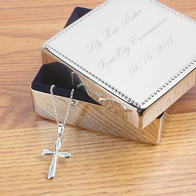 Sterling silver Cross necklace and custom engraved gift box for girls. First Communion gift or Confirmation gift for girls.