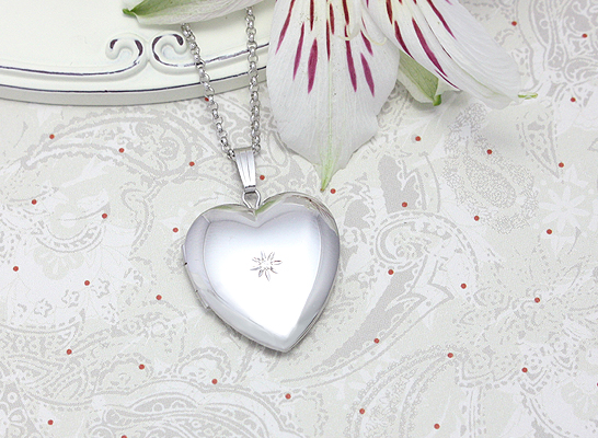 Sterling silver heart locket with genuine diamond gift for mom.
