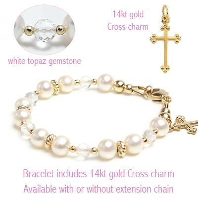 Gold Christening or Baptism bracelet for babies and children.