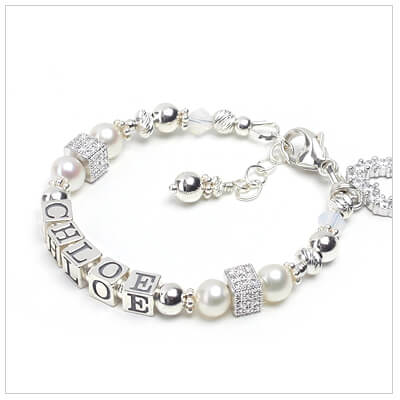 Gorgeous pearl name bracelet for children with pave set sterling beads.