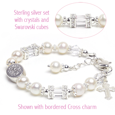 Pearl baptism or Christening bracelet with custom engraving, sparkling cz, and Cross charm.