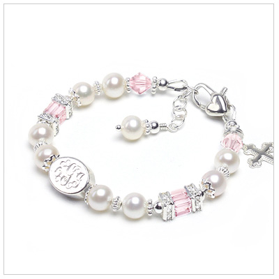 Beautiful white pearl bracelet for girls with engraved sterling bead. Sparkling cz rondelles top soft pink cube crystals.