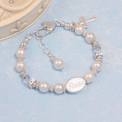 Cultured pearl Christening bracelet with clear cube crystals topped by sparkling cz in sterling. Charm included with our Christening jewelry.