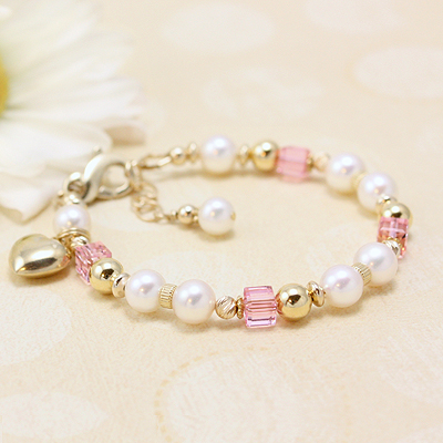 Gold Baby Bracelets with gorgeous cultured pearls and 14kt gold plus pink crystals