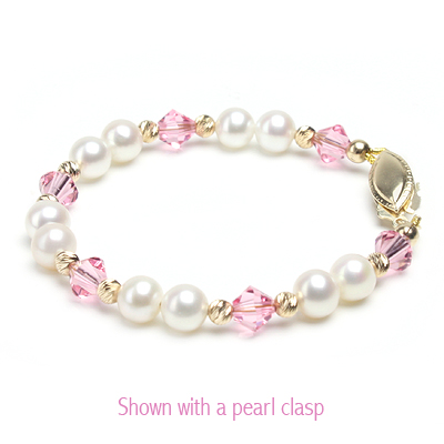 14kt gold baby and children's bracelet with white cultured pearls and soft pink crystals.