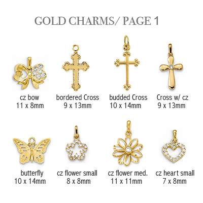 14kt gold charms to add to baby and children's bracelets; page 1.