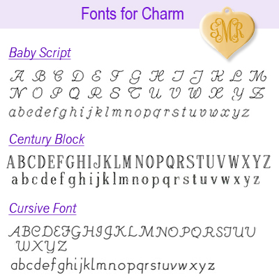 Font options for 14kt gold heart charm, page 1.