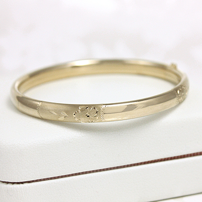 Gold Filled Engraved Baby Bangles 4.5 inches with hand engraving for baby and toddler