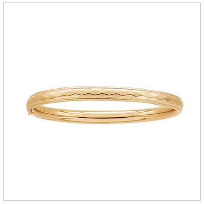 14kt gold filled bangle bracelet for children with a diamond-cut pattern and safety hinge.