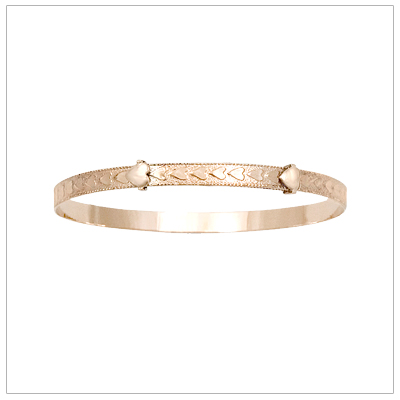 14kt gold filled baby bangles with a border of embossed hearts and adjustable sizing.