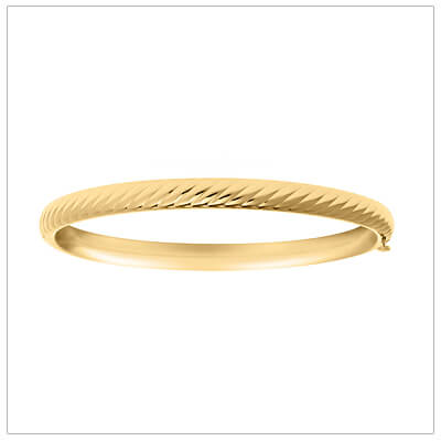 14kt gold filled bangle bracelet for children with an embossed rope pattern. The bracelet has a safety hinge for security.