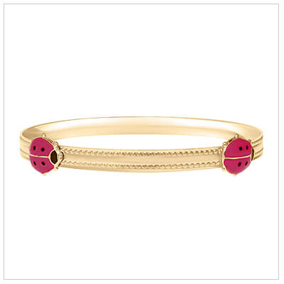 14kt gold filled adjustable bangle for children with two red ladybugs.