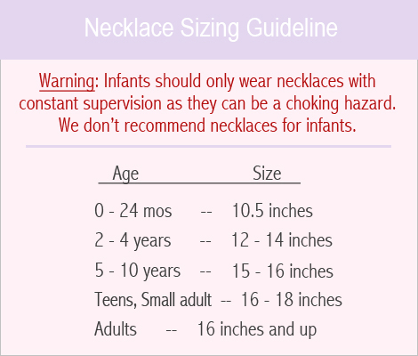 Sizing guide for girls personalized necklaces.
