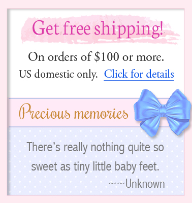 Information on free shipping for personalized baby gifts.