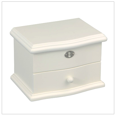 Wooden jewelry box for girls in ivory. Hinged lid with pink interior, pop-up ballerina, and drawer compartment.