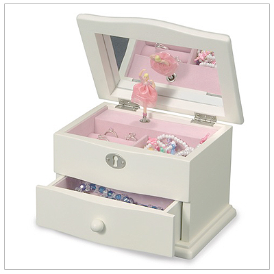 Ivory wood jewelry box for girls with multiple compartments, ring rolls, and drawers; musical pop-up ballerina.