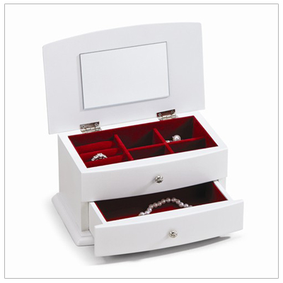 Girls white wood jewelry box with hinged lid, lined interior, multiple compartments, and pull-out drawer.