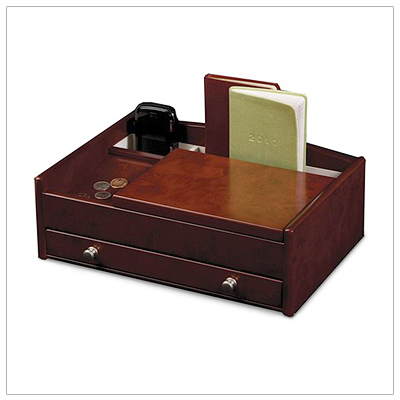 Fine wooden jewelry box, or valet, for men. Storage for electronics plus multiple compartments for jewelry and watches. Pull-out drawer, fully lined, engraving available.