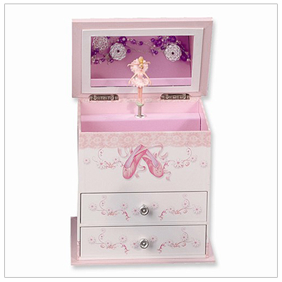 Jewelry box for girls with pop-up ballerina, multiple compartments, and two drawers. Musical.