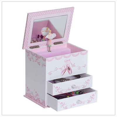 Ballerina musical jewelry box for girls with multiple compartments, two drawers, and pink interior.