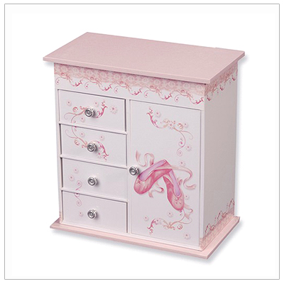 Girls musical ballerina jewelry box in pink and white with multiple compartments, ring rolls, necklace hooks, and more!