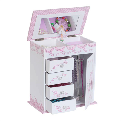 Girls musical ballerina jewelry box with 4 drawers, necklace hooks, rings rolls, and pop-up ballerina.