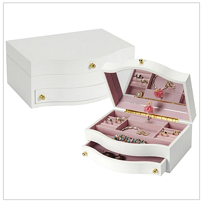 Girls white wooden jewelry box with pop-up ballerina. The jewelry box has a hinged lid, pink interior, pull out drawer, multiple compartments and ring rolls.