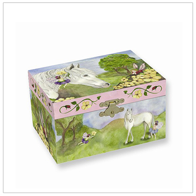 Musical jewelry box for girls with a horse and fairy design; pop-up twirling horse and fully lined interior.