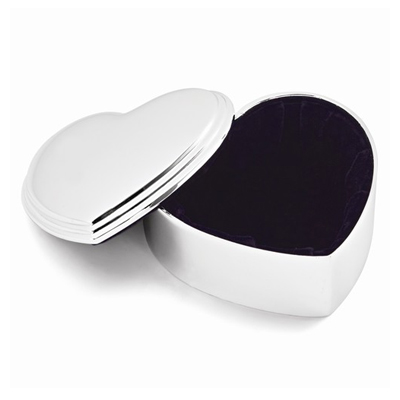 Silver heart jewelry box with free personalization on the lid.