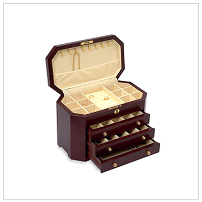Ladies fine wooden jewelry chest with soft lined interior; hinged lid with multiple compartments and necklace hooks, ring rolls, and three pull-out drawers. Mahogany finish.