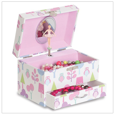 Musical jewelry box for children with an owl design. Ballerina, pink lined interior, and pull-out drawer.