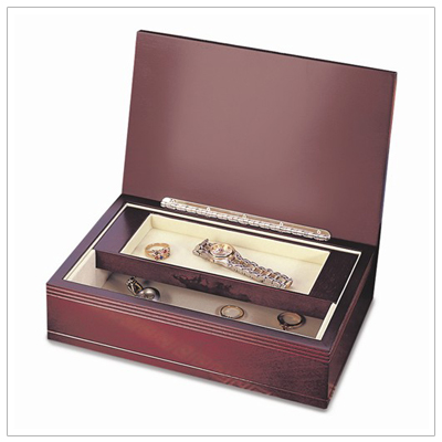 Mens wooden valet or jewelry box with a rosewood finish. Fully lined interior and lift-out tray.