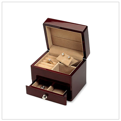 Fine wooden jewelry box for girls with sueded interior, multiple compartments, ring rolls, necklace hooks and drawer.