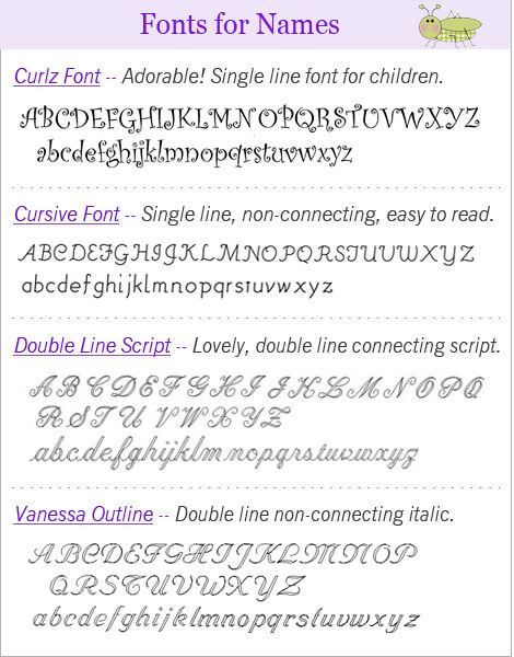 Engraving fonts for names
