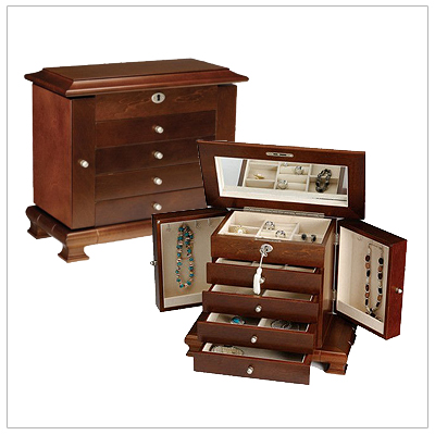 Solid wood locking jewelry box with 4 drawers, 2 doors, hinged lid and mirror. The walnut finished jewelry box has lots of storage and a faux suede interior.