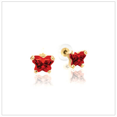 10kt gold childrens birthstone earrings with a tiny butterfly shaped cz birthstone.