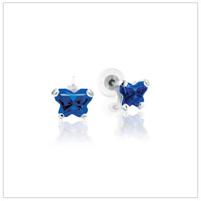 10kt white gold childrens birthstone earrings with tiny butterfly shaped cz birthstone. September birthstone earrings shown.