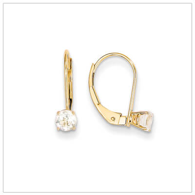 14kt gold lever back birthstone earrings. Beautiful birthstone earrings for April.