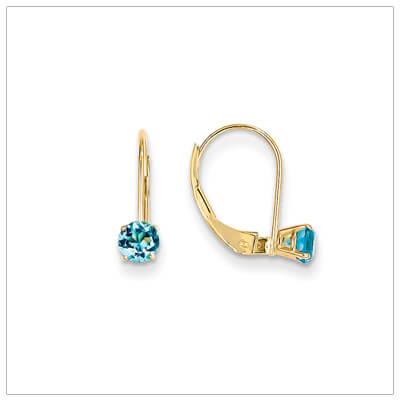 14kt gold lever back birthstone earrings. Beautiful birthstone earrings for December.