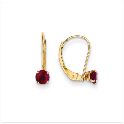 14kt gold lever back birthstone earrings. Beautiful birthstone earrings for July.