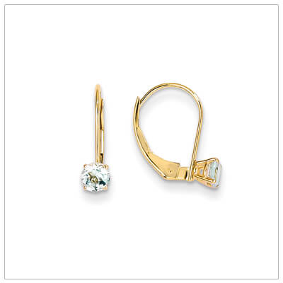 14kt gold lever back birthstone earrings. Beautiful birthstone earrings for March.