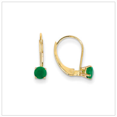 14kt gold lever back birthstone earrings. Beautiful birthstone earrings for May.