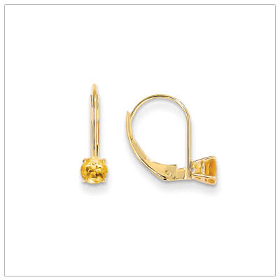 14kt gold lever back birthstone earrings. Beautiful birthstone earrings for November.