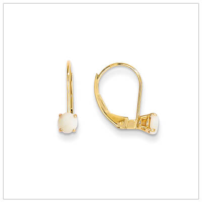 14kt gold lever back birthstone earrings. Beautiful birthstone earrings for October.