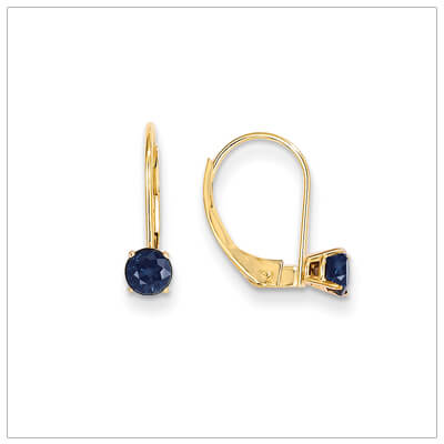 14kt gold lever back birthstone earrings. Beautiful birthstone earrings for September.
