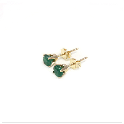 14kt gold May birthstone earrings, classic stud earrings with a push on back.