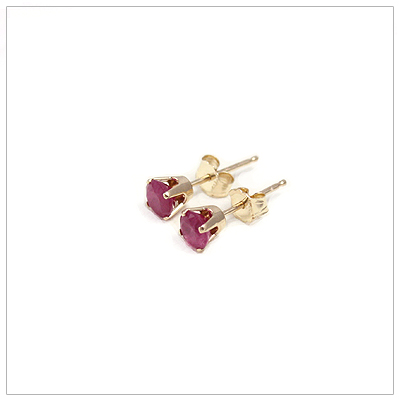 14kt gold July birthstone earrings, classic stud earrings with a push on back.